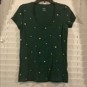 Pink V-Neck Tee Green with Gold Stars XS